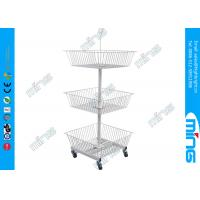 Buy cheap Metal Powder Coated Wire Display Basket Stands with 3 White Baskets from wholesalers