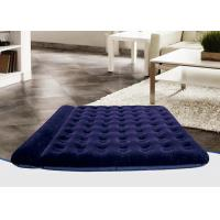 Quality Foldable PVC Flocked Air Bed Luxury Dark Blue Double Inflatable Mattress Built-In Pillow for sale