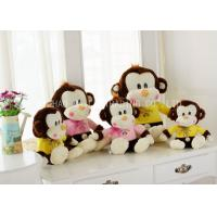 Wholesale Brown Monkey Animal Plush Toys Sitting With Lace Bows / Yellow Warm Blouse from china suppliers