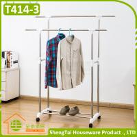 Quality Multi Function Stainless Steel Garment Storage Cloth Drying Shelf With Wheels for sale