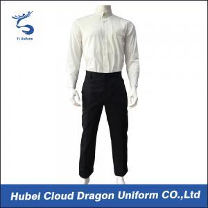 Quality White Poplin Security Guard Uniform Shirts , Men Law Enforcement Clothing Breathble for sale
