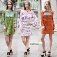Wholesale sexy printed flower short dress for women in long flounce sleeve with off the shoulder from china suppliers