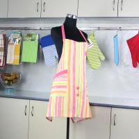 Wholesale Household Pink Stripes Printed Bib Kitchen Cotton Apron With Pocket from china suppliers