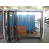 Quality 1.8mm profile thickness aluminum bifold doors with wood grain surface treament for sale
