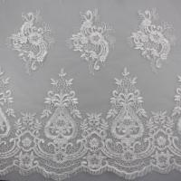 Quality 3D Eyelash Polyester Yarn On Nylon Mesh Corded Embroidery Lace Fabric For Bridal for sale
