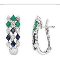 Wholesale 14K White Gold Earrings Sapphire, Emerald and Diamond earring from china suppliers