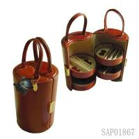 Wholesale Luxury Large Brown PU Leather Travelling Jewelry Case Round Shape from china suppliers