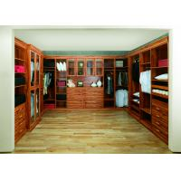 Wholesale Modern Solid Wood Walk In Closet Organizers , Glass Sliding Door Wardrobe from china suppliers