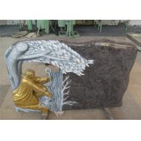 Wholesale Gold Painting Cemetery Memorial Stones , Hand Carved Headstones With Various Styles from china suppliers