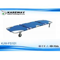 Wholesale Blue Emergency Folding Stretcher With 2 Straps , Patient Transport Trolley For Construction Site from china suppliers
