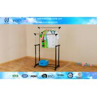 Wholesale Double Pole Iron Metal Clothes Rack , Black Garment Drying Rack from china suppliers