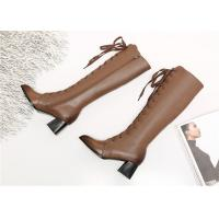 Wholesale Pointed Toe Womens Knee High Lace Up Boots , Soft Leather Knee High Heel Boots from china suppliers