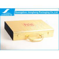 Wholesale Gold Shiny Faux Leather Gift Storage Box Red Logo Hot Stamped With Handle from china suppliers