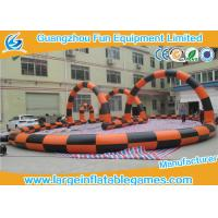 Wholesale PVC Tarpaulin Inflatable Football Pitch Zorb Ball Track , Inflatable Football Game For Adults from china suppliers