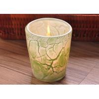Wholesale Create modern glass candle holders green leaf pattern , 280ml Capacity from china suppliers