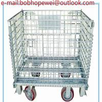 Wholesale Storage Metal Roll Cages Folding Wire Mesh Box & Container/foldable galvanized industrial stackable storage cages from china suppliers