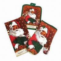 Wholesale 3 Pieces Christmas Kitchen Set, 1 Piece Kitchen Towel + 1 Piece Pot Holder + 1 Piece Oven Mitt from china suppliers