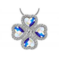 Wholesale Fashion Sterling Silver Charm Necklace Pave CZ With Four Austra Crystal Heart Necklace from china suppliers