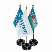 Wholesale 6 x 9 Inches Desk Flags with 12-inch Height Golden Plastic Stand, Customized Logos are Accepted from china suppliers