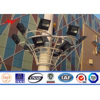 Quality 25.5m - 29m Galvanized High Mast Light Pole / Lamp Pole With Square Lamp Bracket for sale