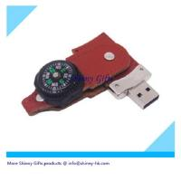 Wholesale 2gb leather usb memory with compass  from china suppliers