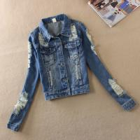 Wholesale Button Closure Down Patch Womens Denim Jeans Jacket With Embroidered Pocket from china suppliers