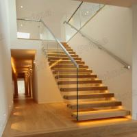 DIY install floating stairs glass railing cantilever stair