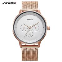 Wholesale SINOBI Quartz Men Watches Alloy Slim Mesh Band Fashion Casual Calendar Clock Watch from china suppliers