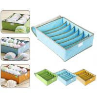 Wholesale 7Cell Bamboo Charcoal Storage Boxes Bra Underwear Closet Organizer Drawer Divider Green from china suppliers