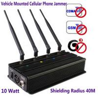 Wholesale Vehicle Mounted Desktop 4 Antenna Mobile Phone 3G GSM CDMA Jammer W/ 10 Watt & 40M Range from china suppliers