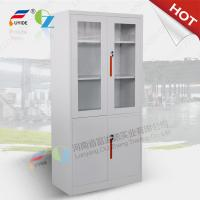 Wholesale KD Steel cupboard with class and steel door, swing/sliding open,white color/green handle/directly offer from china suppliers