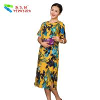 Wholesale Flower Printed Long Casual Summer Dresses With Short Sleeves 100% Cotton Material from china suppliers