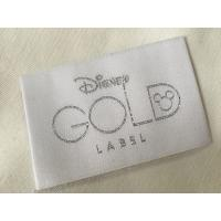 Wholesale Disney Gold Bage End Fold Woven Clothing Labels Cold Cut / Heat Cut from china suppliers