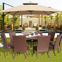 Wholesale family friends gathering patio furniture with 10 seater removable seat cushions rattan party table with umbrella / Tent from china suppliers