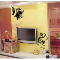 Wholesale Home Designer Classic PVC Black Flower Wall Sticker F067 from china suppliers
