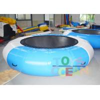 Quality 0.9MM PVC Bule / White Inflatable Jumping Water Trampoline For Water Sport Game for sale