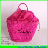 Wholesale LUDA rose red leisure straw handbag cornhusk shoulder bag latest women's bag from china suppliers