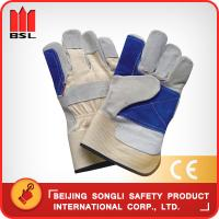 Quality SLG-HD6020-E cow split leather working safety gloves for sale