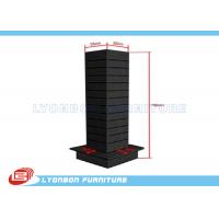 Wholesale Shop Black MDF Four Sided Garment Display Stand Portable With Hanging Slots from china suppliers