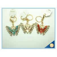China Rhinestones Butterfly Shape Keychain Zinc Alloy Gold Plated Animal Metal Crystal KeyChains Ring Holder on sale