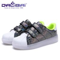 Wholesale Buckle Strap LED Casual Shoes Led Light Up Shoes For Kids , 4 Colors from china suppliers
