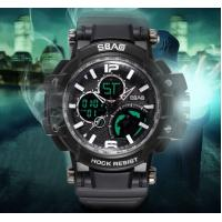 Wholesale SBAO Men Outdoor Dual Time Waterproof TPU Band Week date Alarm Display Chronograph Sport  Watch S-8007-1 from china suppliers