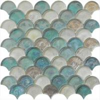 Wholesale Light blue green mix water waving glass mosaic for hotel mall from china suppliers