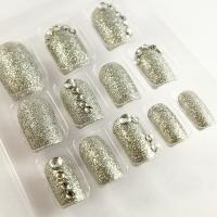 Quality Full Cover Silver Glitter Diamond Fake Nails Charming 3D False Nail Tip for sale