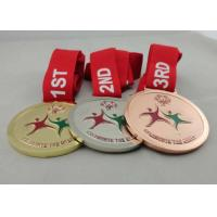 Wholesale Copper Plated Medals With Ribbon , Die Casting For Olympic Game from china suppliers