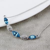 Wholesale 140319 Aquamarine cold dewdrop necklaces with diamond pendant for women costume jewelry factory wholesale accessories from china suppliers