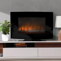 """Wholesale 35"""" Curved Tempered Glass Wall Mounted Electric Fireplace Heater EF-11A/EF-11B LED FLAME EFFECT WITH BACK LIGHTS from china suppliers"""
