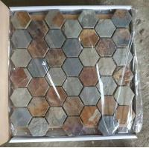 Wholesale Slate Hexagon Mosaic Rust Slate Wall Mosaic Multicolor Slate Floor Mosaic Slate Tiles Parquet from china suppliers