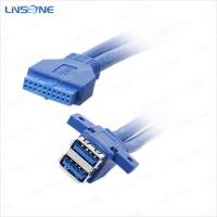 Wholesale USB 3.0 Plate line 2 ports A type Female to 20Pin Cable from china suppliers