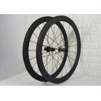 Wholesale High Durability Carbon Tubular Wheelset , Carbon Spoke Bike Wheels 18 / 21H from china suppliers